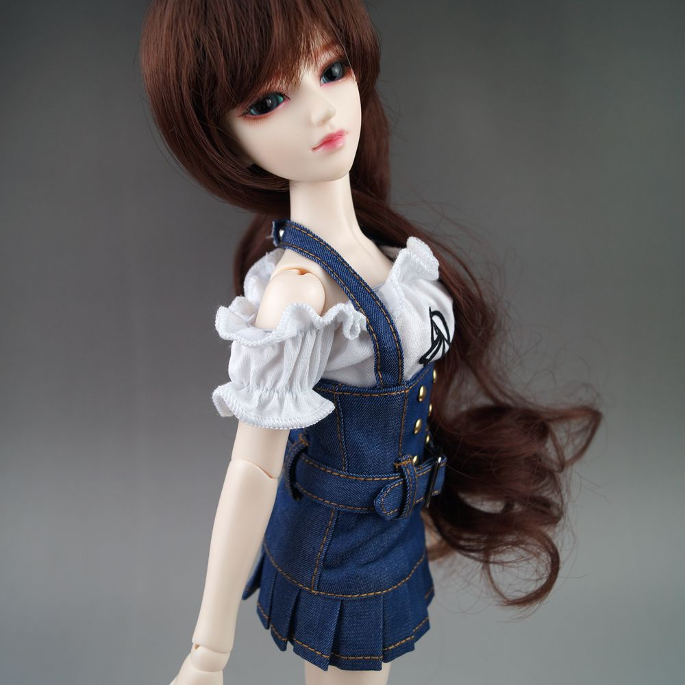 BJD T shirt+ suspender skirt Clothes Outfit Kit For 1/4 17