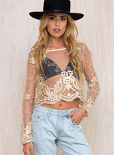 2016 Elegant Gold Embroidery Lace Blouse Shirt Long Sleeve Gauze Metallic Beach Blusas Sexy Women Blouses Tops