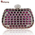 New Listing Women Party Evening Bag Luxury Bling Glass Stones Full Diamond Wedding Handbag Hard Case Clutch Purse Pouch 5 Colors