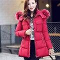 Por la chaqueta larga con capucha, invierno mujeres abrigo de cuello de pelo pesado de manga medio largo delgado yardas grandes gruesa capa caliente G1897