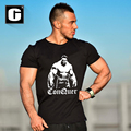 New Men's t-shirt Cotton short sleeve shirt Cartoon clothing muscle black letter printing jersey for male Leisure streetwear