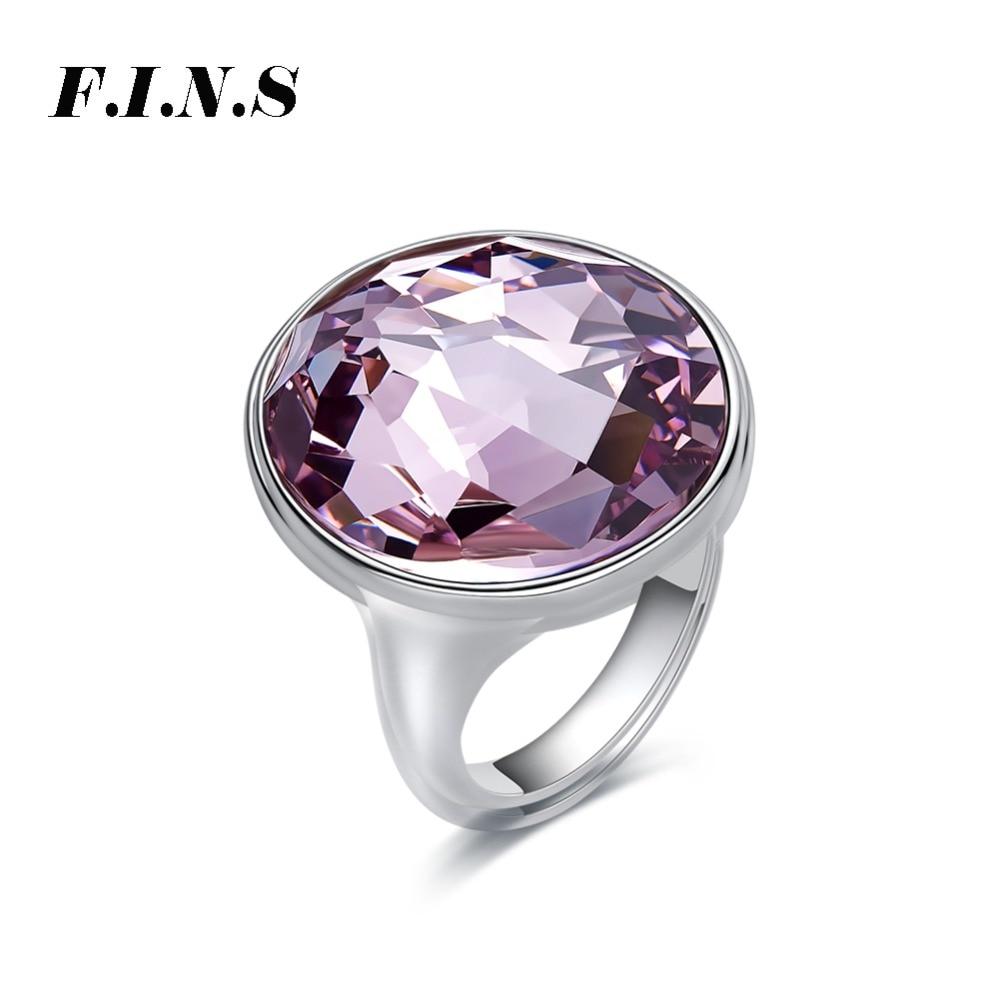 F.I.N.S classique grand bleu violet cristal rond anneaux de mariage pour les femmes mode élégant géométrique argent 925 bijoux Anillos Mujer