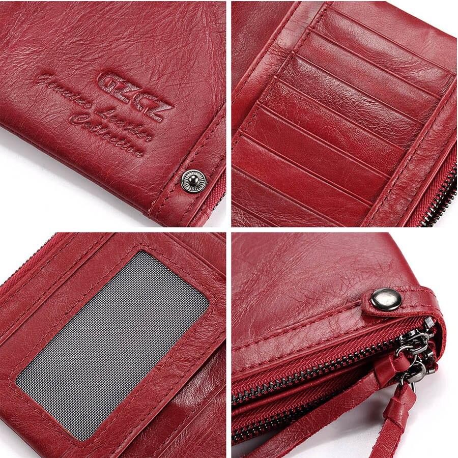 Véritable cuir femmes Long portefeuille coques de téléphone 5.5 pouces pour iPhone femelle fermeture éclair pince pour argent pochette porte-monnaie porte-carte - 6
