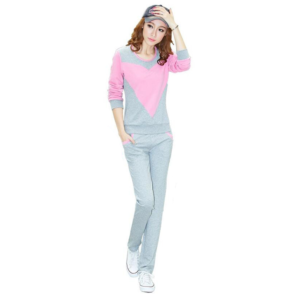 New Spring&autumn Korean Style Sportwear Plus Size Causal Clothing Womens Sweatshirt Sweat Suit Top and Pants