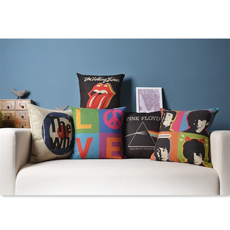Birthday Gift Rock Roll The Beatles Pink Floyd The Rolling Stones Who Love Pattern Cushion Pillow Home Decor