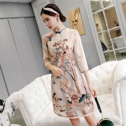 Китайское современное платье Ципао с вышивкой и воротником-стойкой - Цвет: A