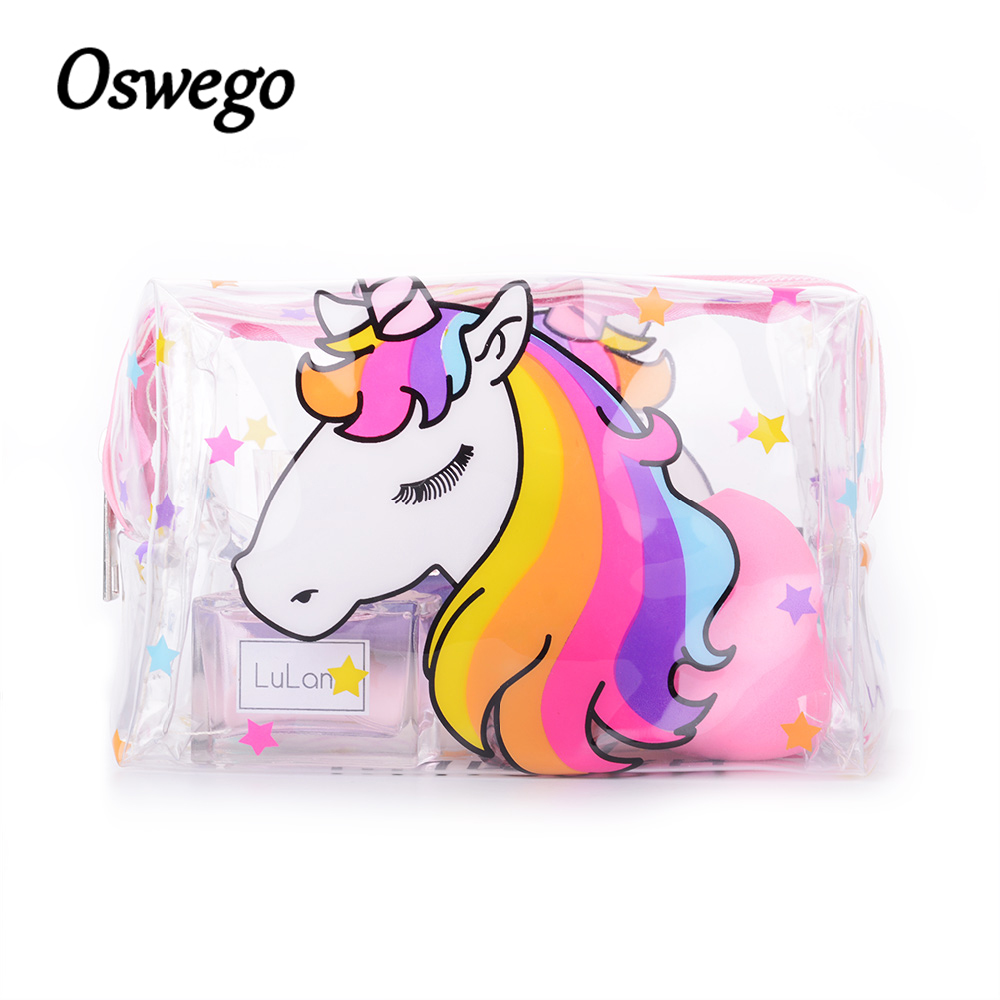OSWEGO Unicorn PVC Makeup Bag Waterproof Zipper Toiletry Bag