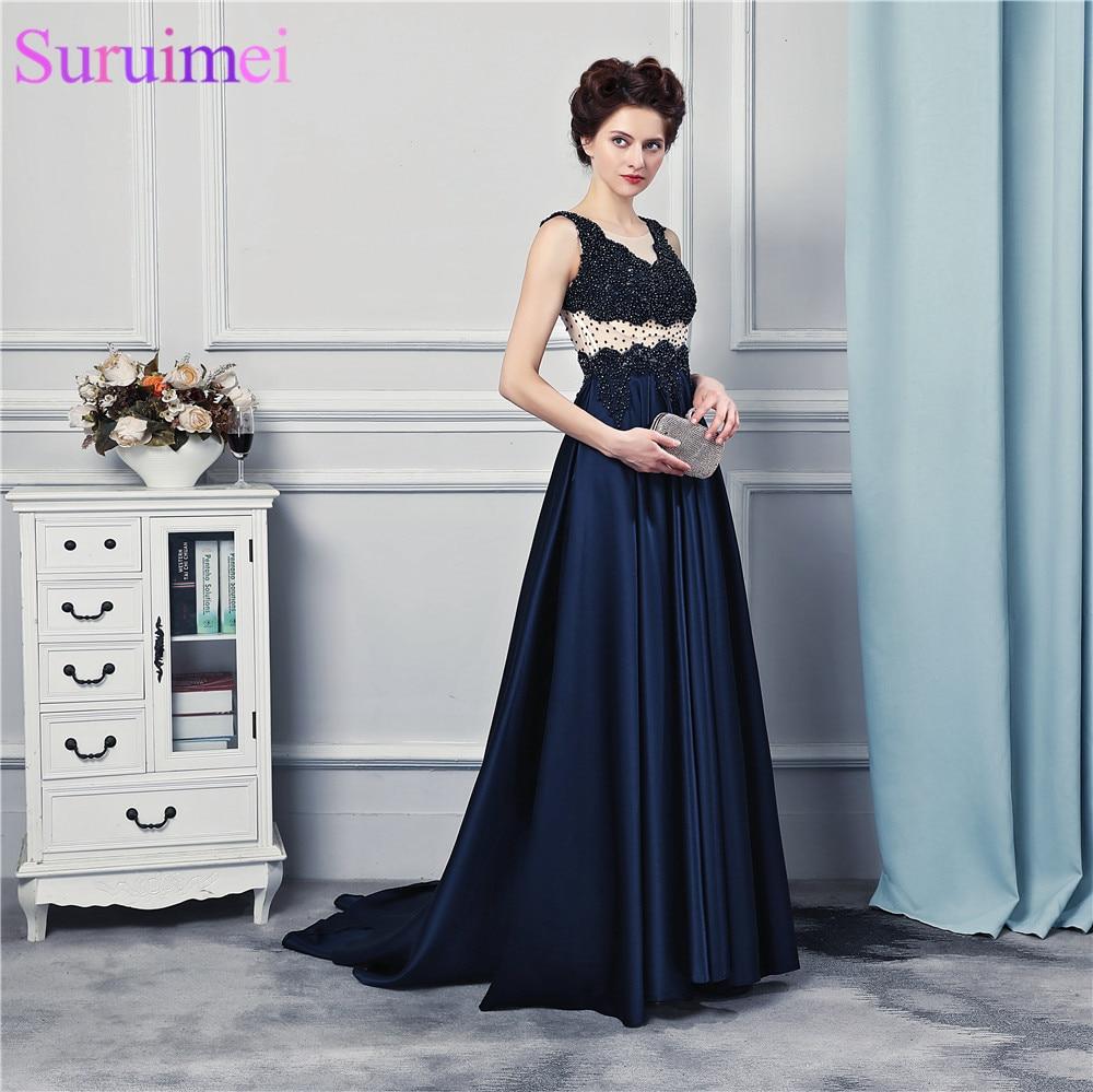 other Satin Perlen Prom Color Back Spaghetti Abendkleid Nude trägern Color Durchsichtig Picture Marineblau Kleider qwS8W1R7
