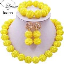 Laanc желтый имитация жемчуга бусины Африканский комплект ювелирных изделий нигерийские Свадебные цепочки и ожерелья SP1R012