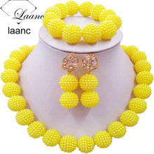 Laanc Yellow Simulated Pearl Beads African Jewelry Set Nigerian Wedding Necklace SP1R012 red 100% genuine african coral beads necklace set nigerian wedding sexy bridal jewelry set dubai 2017 free shipping