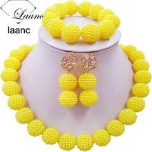 цена Laanc Yellow Simulated Pearl Beads African Jewelry Set Nigerian Wedding Necklace SP1R012 онлайн в 2017 году