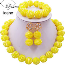 Laanc Yellow Simulated Pearl Beads African Jewelry Set Nigerian Wedding Necklace SP1R012(China)