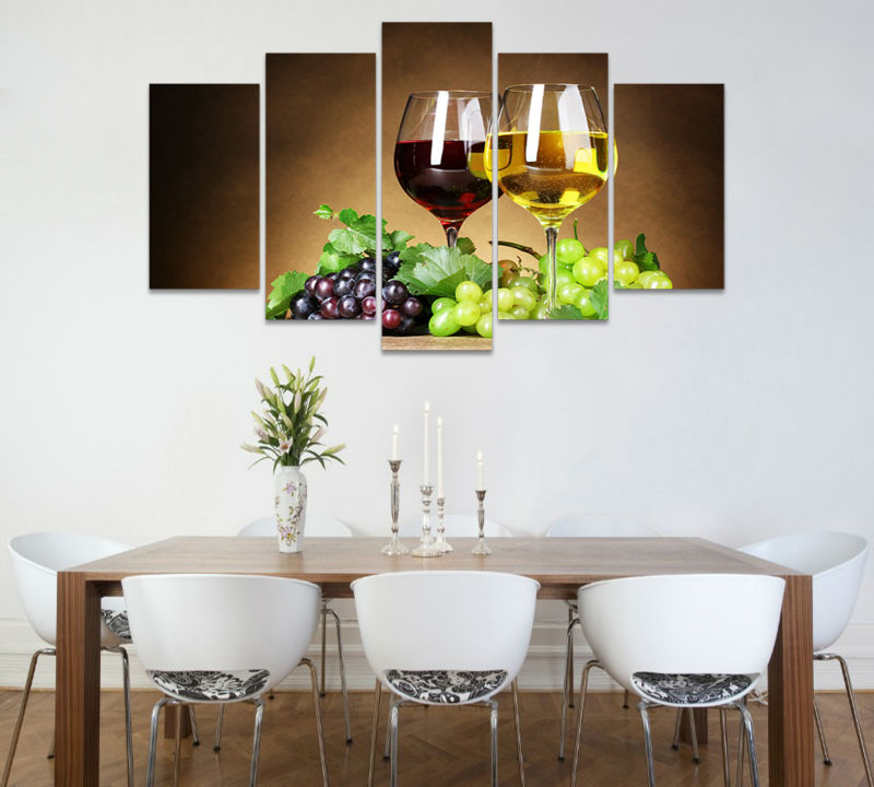 5pcs art hd print wine glasses painting modern home decor for Wine wall art decorating dining room