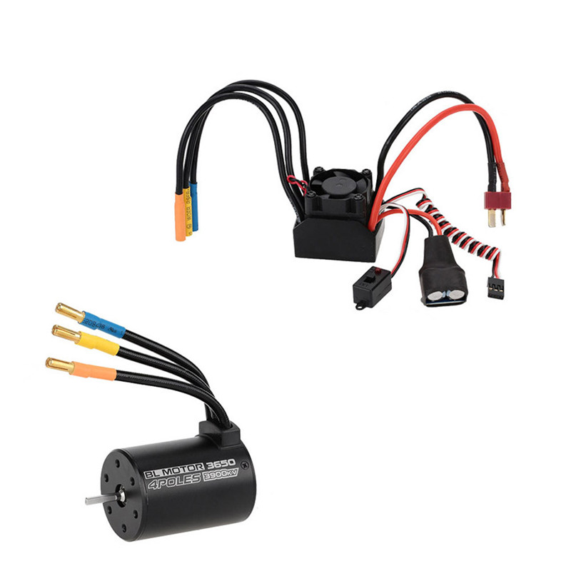 3650 3900KV 4P Sensorless Brushless Motor & 60A Brushless Splash-Proof Electronic Speed Controller ESC For 1/10 RC Car 3650 3900kv 4p sensorless brushless motor 60a brushless elec speed controller esc w 5 8v 3a switch mode bec for 1 10 rc car