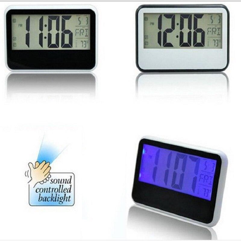 2018 Large Screen LCD Alarm Clock Saat Reloj Despertador Sound snooze backlight creative clock temperature student alarm clocks
