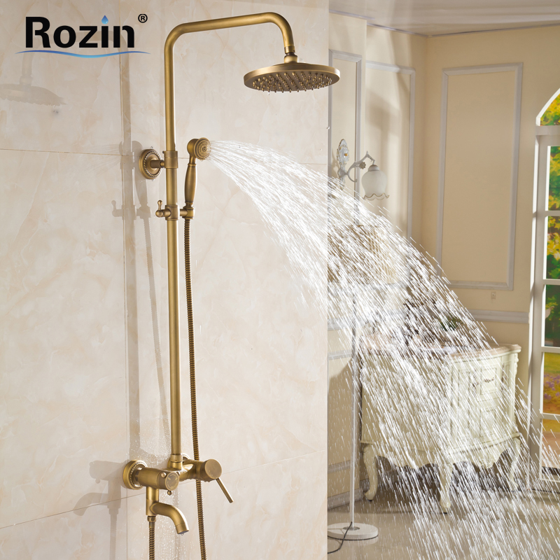 Wholesale And Retail Wall Mounted Single Handle Bath Shower Faucet Antique Brass Shower Mixer Tap With Hand Shower luxury wholesale and retail promotion antique brass wall mounted 8 round rain shower faucet set single handle mixer
