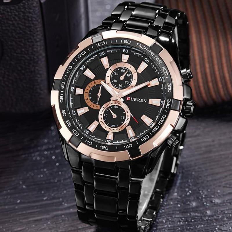 CURREN New Watches Men Top Luxury Brand Quartz Fashion Casual Wrist Watch Mens Waterproof Full Steel Mens Sports Watches Clock