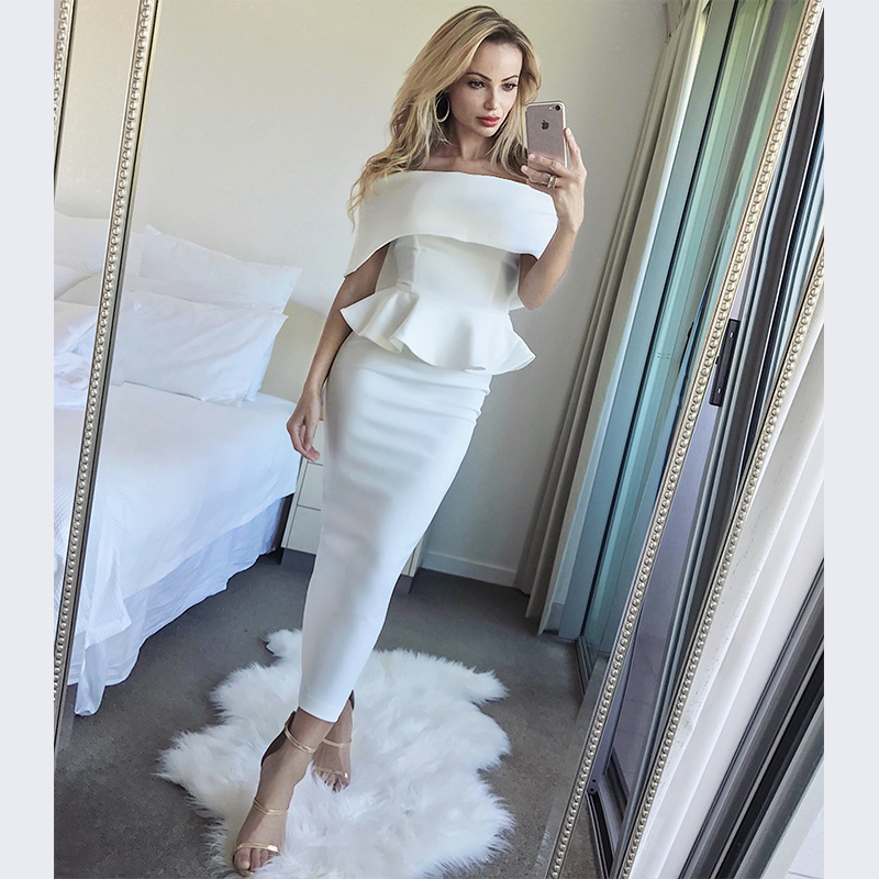 2018 Fashion Nova Evening Mid-Calf South African Cold Off Shoulder Party Tea Length Peplum Hem Ruffles Mermaid Gowns Dress