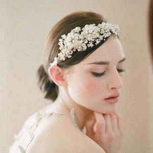 Image 2 - GETNOIVAS Vintage złota perełka Rhinestone liść tiara pałąk Hairband biżuteria do włosów ślubna głowa kawałek korona ślubna akcesoria SL