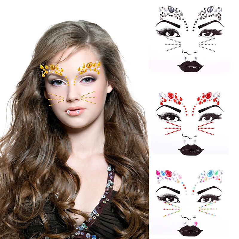 Adhesive Face Gems Rhinestone Temporary Jewels Music Festival Party Body Glitter Flash Temporary Crazy Cat Tattoos Sticker