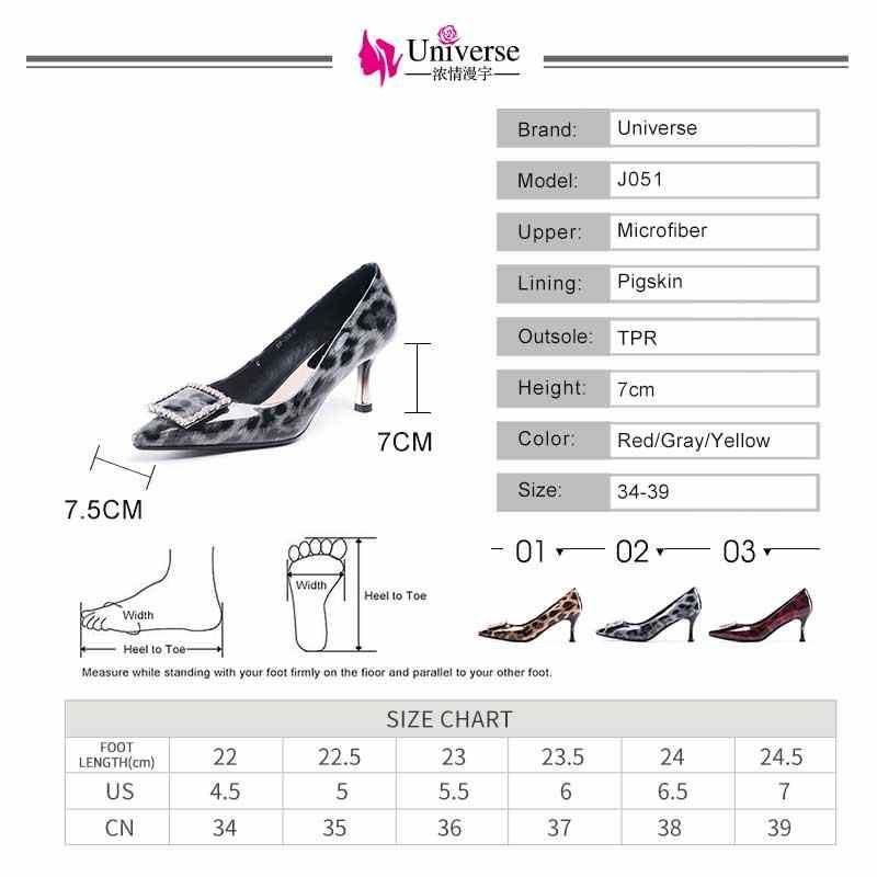 Patent Deri Kadın Yüksek Topuklu 2019 Slip-on 7 cm Ince Topuklu Evren Rahat Sivri Burun Kırmızı Gri Sarı kadın Topuklu Leopar J051