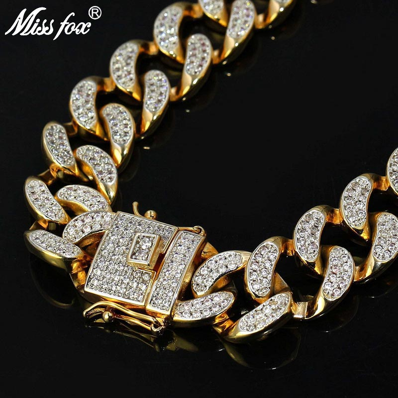 MISSFOX HIP Hop Mens Iced Out 24K Gold Plated Tone AAA CZ Stone Big Miami Cuban