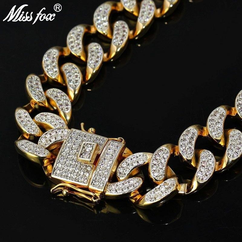 MISSFOX HIP Hop Mens Iced Out 24 K Gold Überzogene Ton AAA CZ Stein Big Miami Cuban Link Kette 18 20 24 30 zoll Halskette Armband-in Kette Halsketten aus Schmuck und Accessoires bei  Gruppe 1