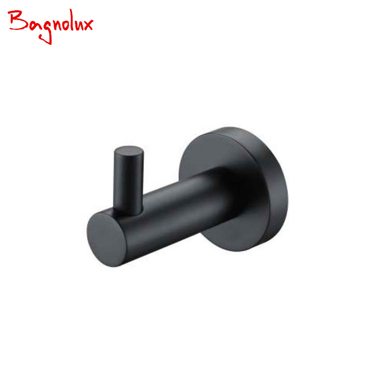 Wholesale Classic 304 Stainless Steel Matt Black Coat Racks Towel Hook Round Base Robe Hook Wall Mounted Bathroom Accessories R2 succulent shaped wall mounted hook