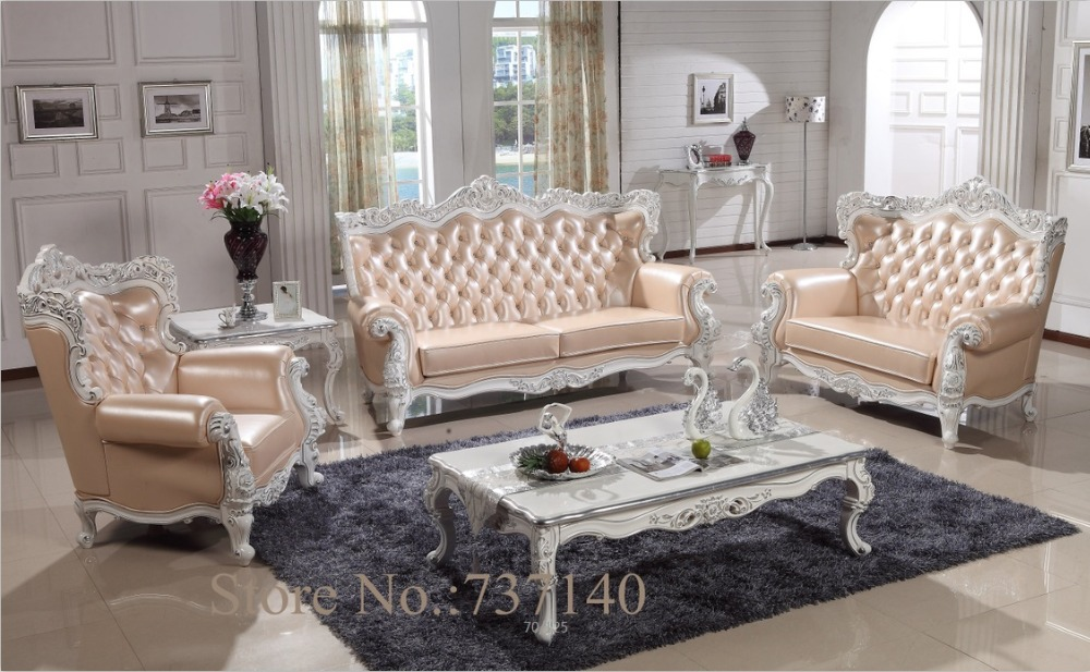 Sofa set living room furniture wood and genuine leather for Upscale living room furniture
