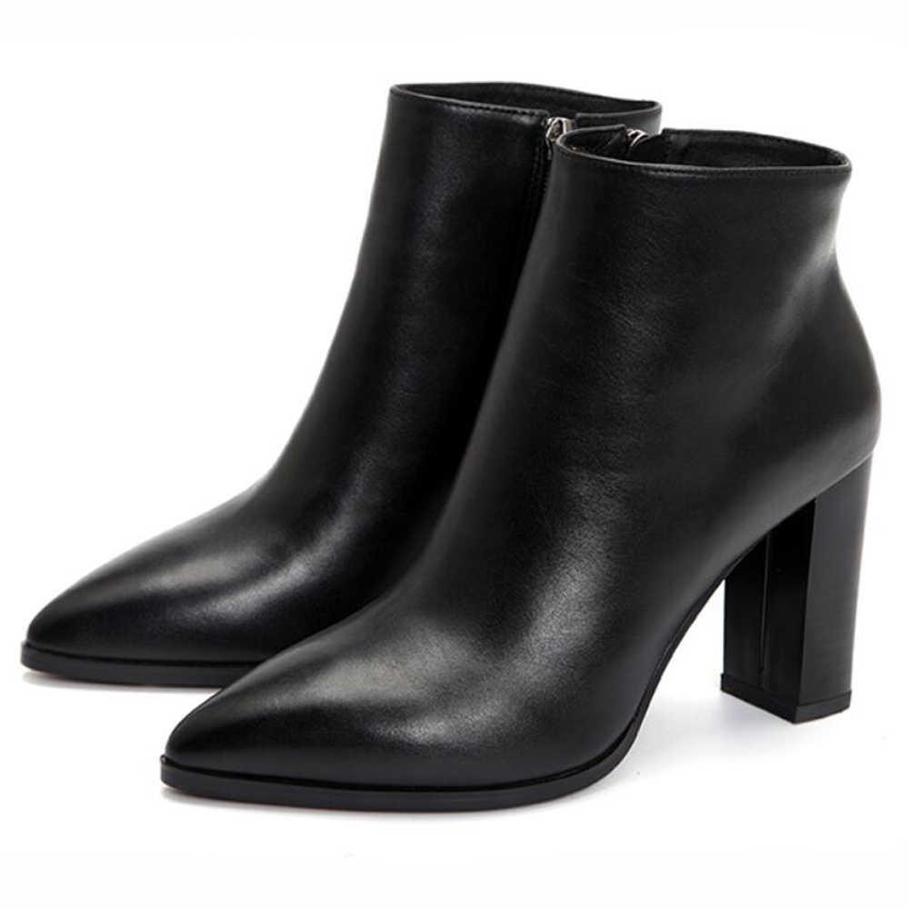 Meotina Kış Doğal Deri yarım çizmeler Kadınlar Yüksek Topuk Çizmeler Sivri Burun Hakiki Deri kısa çizmeler Zip Seksi Bayan Ayakkabıları