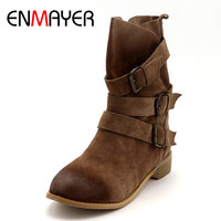 ENMAYER Shoes Woman Winter Boots Cowboy Western Boots Plus Size 33 43 Mid Calf Boots For