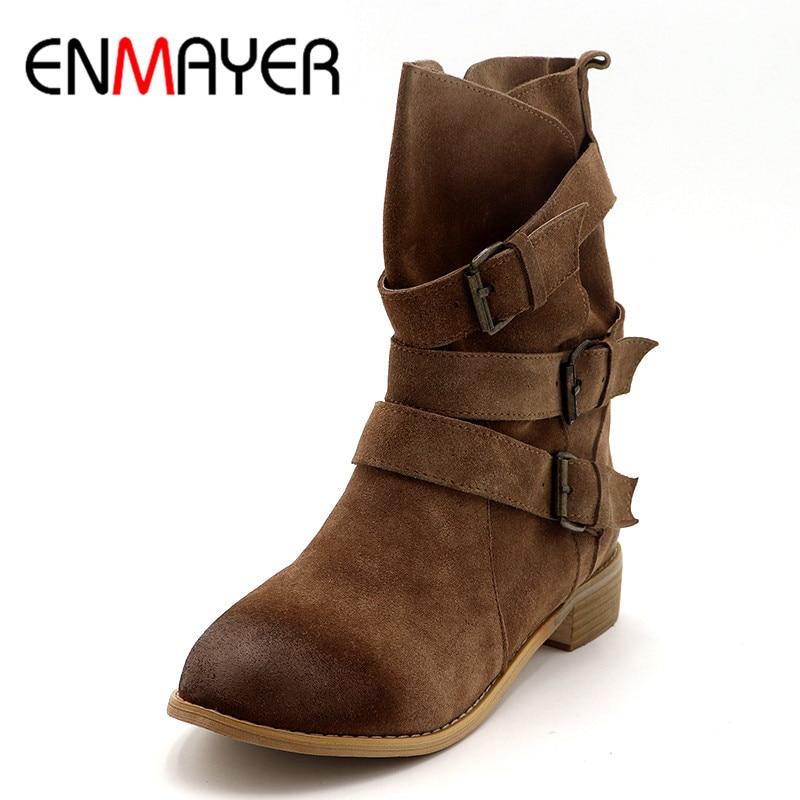 ENMAYER chaussures pour femme Bottes D'hiver Cowboy bottes western grande taille 33-43 mi-mollet Bottes pour Femmes Court Noir Lumière tan chaussures