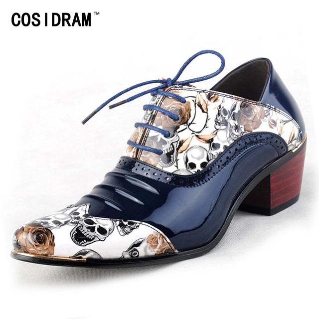Zapatos de Cuero genuino Informal Brogue Oxford Zapatos Para Hombres de Impresión de Los Hombres Zapatos de Vestir de Boda Zapatos de Fiesta Sapato masculino BRM-291