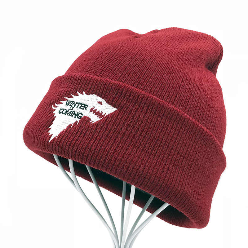 384717fe40e ... Game Of Thrones Warm Knitted Beanie Skullies House Of Stark Winter is Coming  Dire Wolf Hat ...