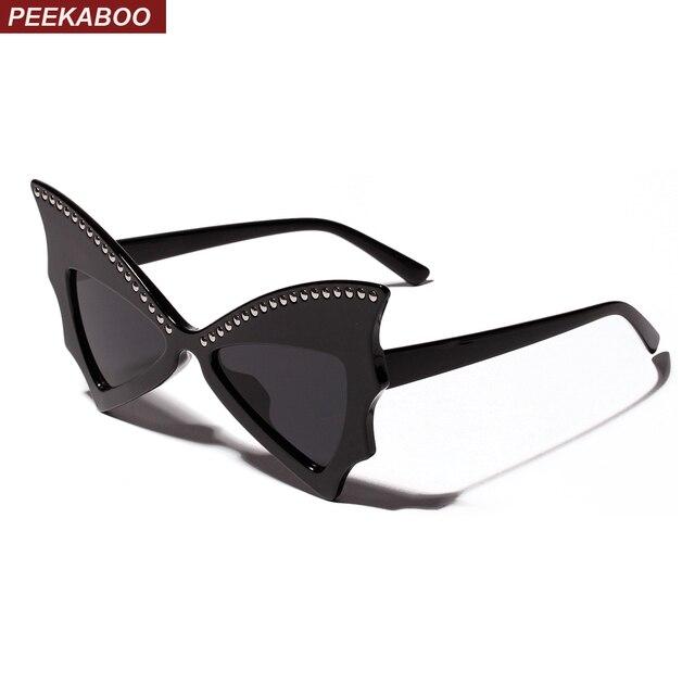 35c0a2e054 Peekaboo butterfly sunglasses women cat eye 2019 rivet oversize sun glasses  for women vintage Christmas gift girl