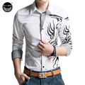 2016 Spring New Slim Casual Men's Fashion Brand Long Sleeve Printing Homme, Chemise Camisa Masculina Large Size XXXXL