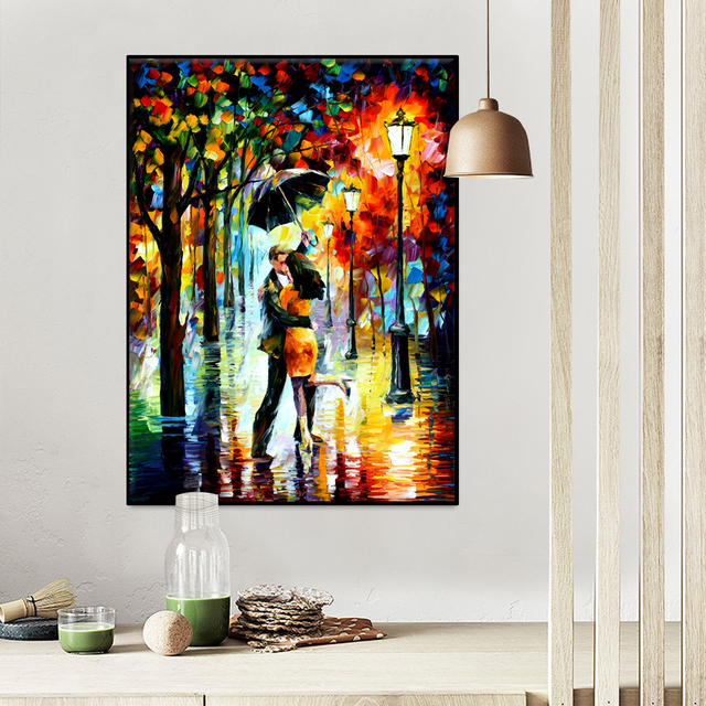 Modern Canvas Print Art Knife Painting Romantic Lover Wall Picture for Living Room Wall Decor