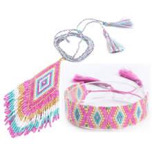 Shinus 2019 Jewelry Set MIYUKI Bracelet Women Pendant Necklace Pink Pulseras Boho Delica Beads Bracelets Bohemian Wedding Gift цены