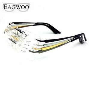Image 5 - Pure Titanium Eyeglasses Rimless Optical Frame Prescription Spectacle Frameless Glasses For Men Eye glasses 11090 Slim Temple