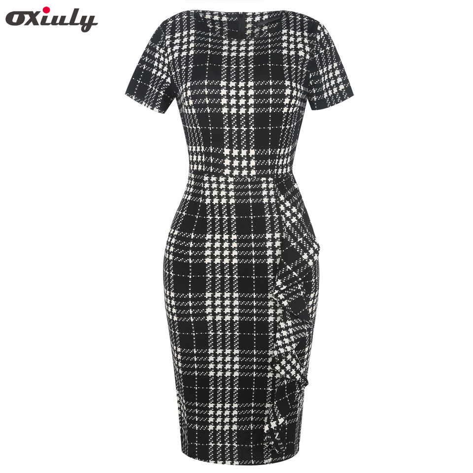 ... Oxiuly Houndstooth Ruffle Work Dress Women Bodycon Petite Sheath Dress  Slim Elegant Office Ladies Pencil Dresses ...