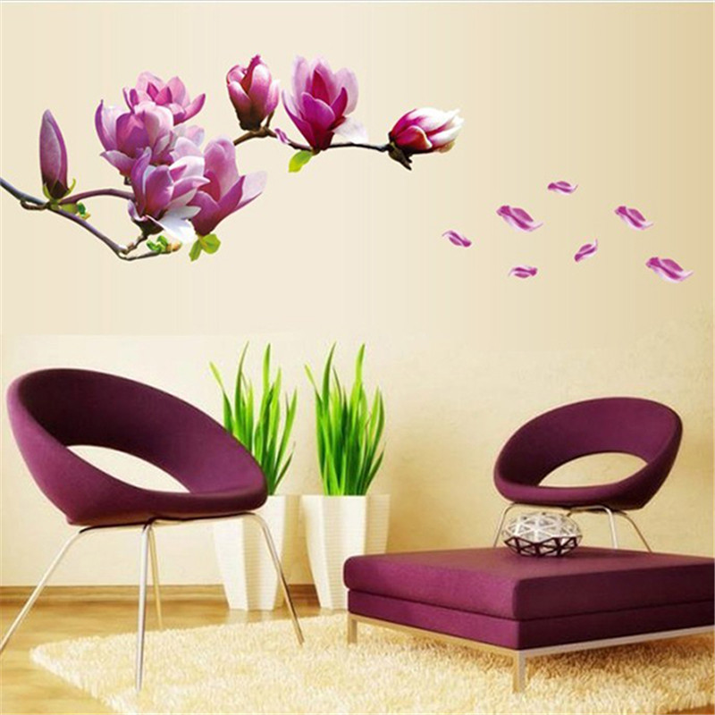 Fashion Magnolia Blossoms Sticker Wall Removable Hall Wallpaper Paste Flowers DIY Home Bedroom Decoration EJ877325 In Stickers From