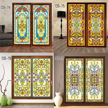 Custom vintage church electrostatic film translucent opaque glass sliding door stickers affixed to furniture cabinets