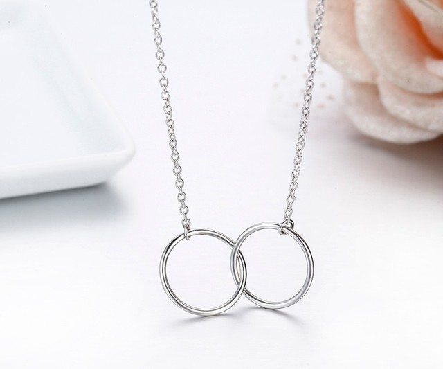 925 Sterling Silver Double Round Circle Chain Choker Pendant Necklaces oEWMY4
