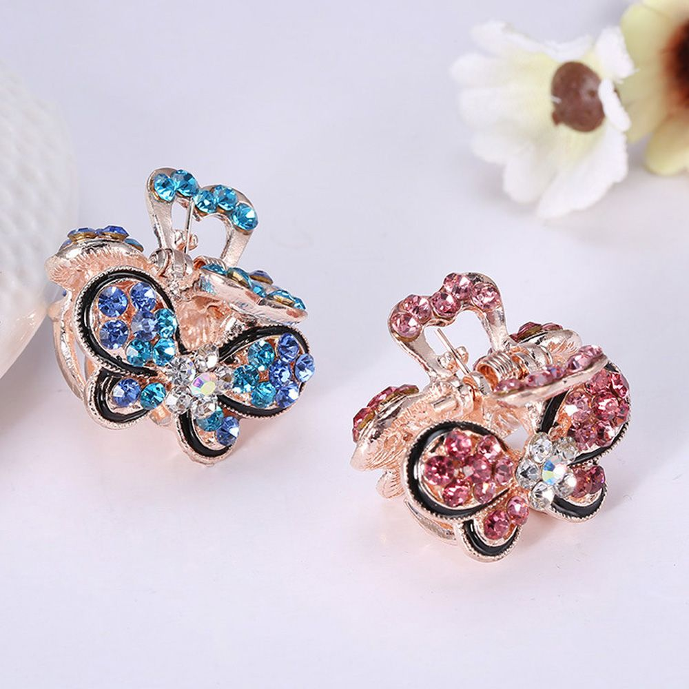 Fashion Gifts Crystal Hairpins Claw Barrette Rhinestone Mini Crown Hair Clip