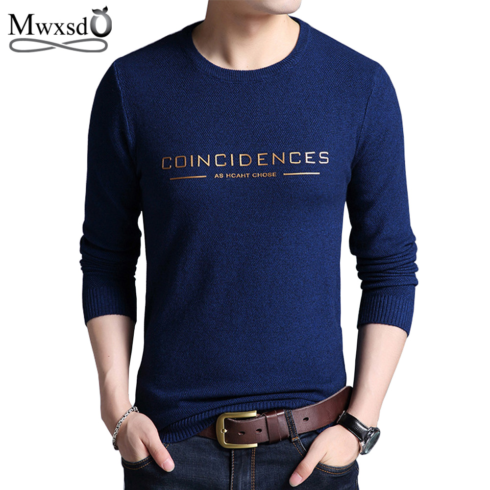 Mwxsd Brand 2019 fashion pullover sweaters Simple style O neck sweater jumpers Autumn Thin male knitwear Plus M-4XL 1