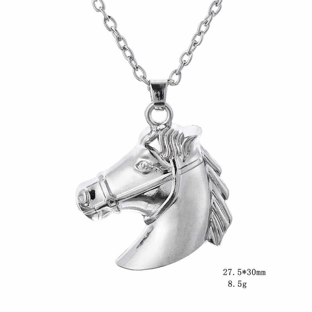 """شص الحصان رئيس الفروسية قلادة الحيوان قلادة الزنك سبائك الروديوم منغم 18 """"رابط سلسلة"""