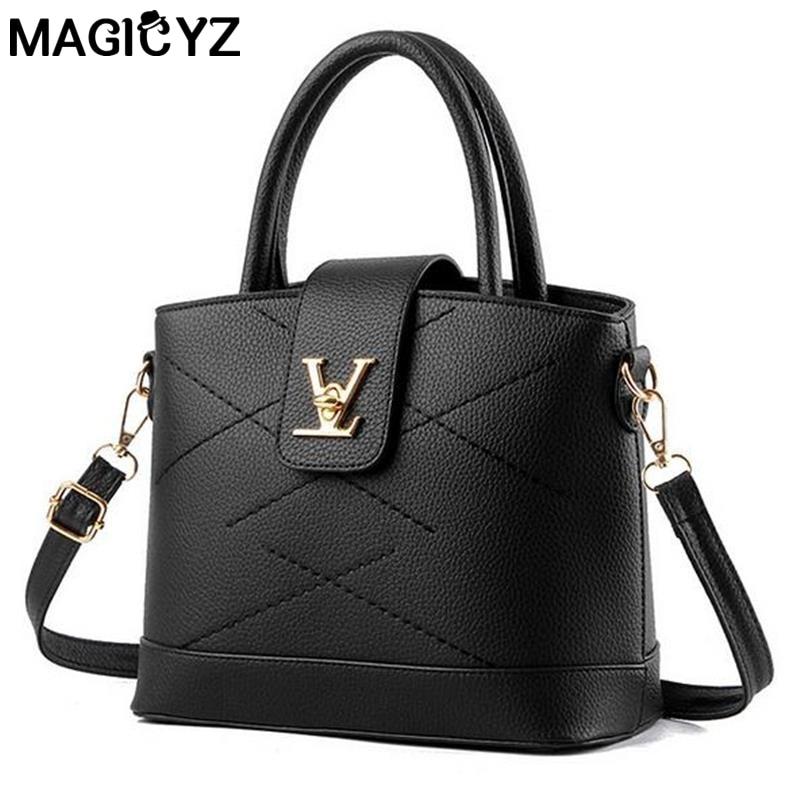 New Women Famous brand V letter Leather Handbag sac a main femme Criss-cross Cr