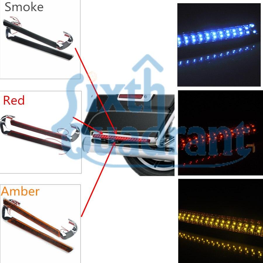 Новое поступление хром Седельной светодиодные боковые Габаритные свет дым объектив/Красный/Янтарный для Harley гастроли Road Кинг 2014-2017