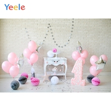 Yeele Brick Wall Balloons Flowers 1st Birthday Party Baby Photography Backgrounds Photographic Backdrops For Home Photo Studio