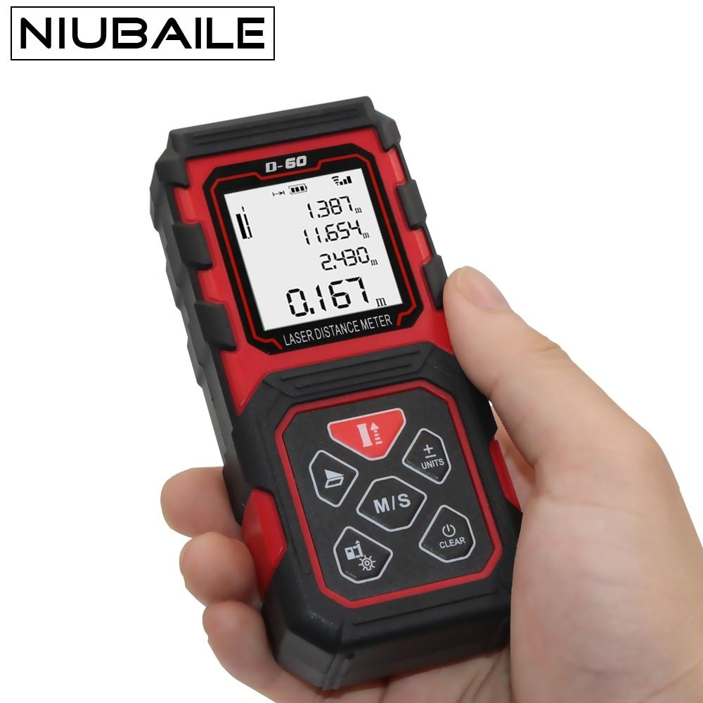 Niubaile Цифровой лазерный дальномер 60 м trena лазерный ручной лазерный дальномер Площадь-объем-угол мера инструмент лазерная рулетка дальномер ...